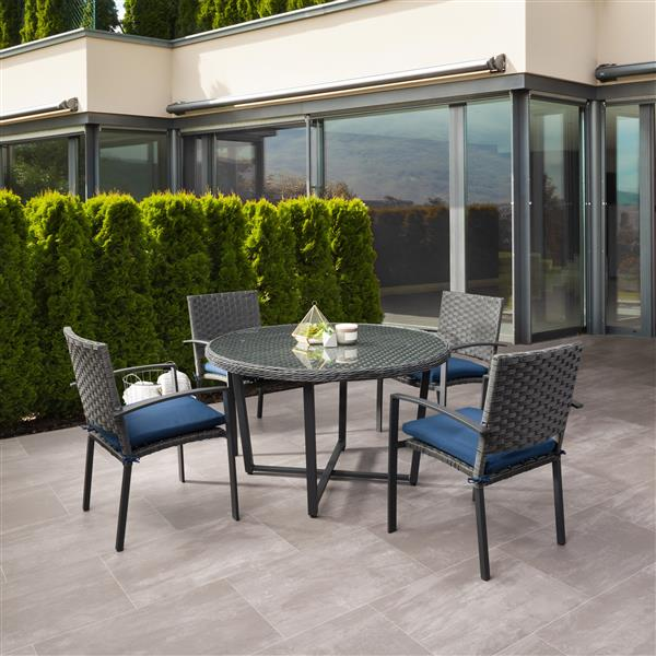corliving rattan patio dining set charcoal grey blue cushions 5 pc