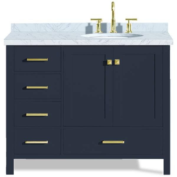 ariel right offset single oval sink vanity 43 in blue