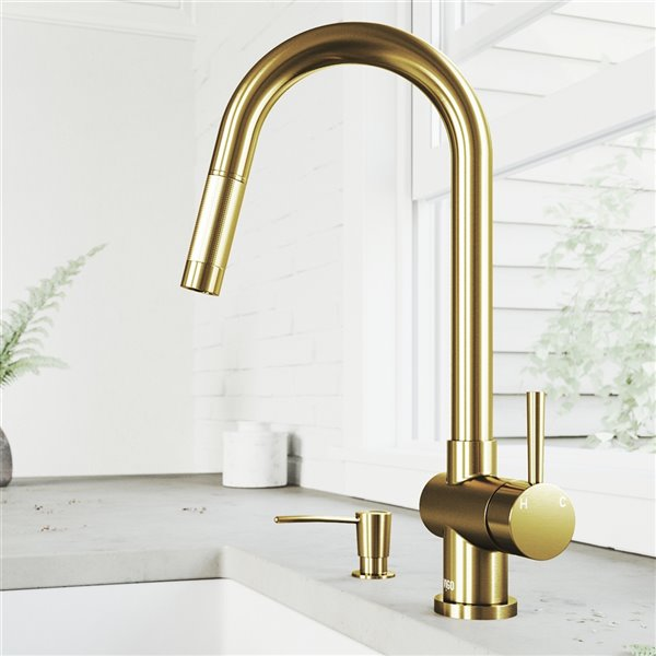 vigo gramercy pull down kitchen faucet and soap dispenser matte brushed gold