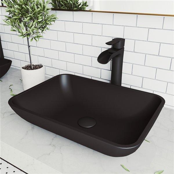 vigo sottile matte black bathroom sink 18 13 in matte black faucet