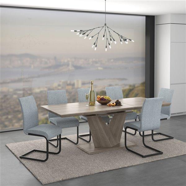 ens de salle a manger moderne rustique avec table en chene de worldwide homefurnishings argent gris 7 pieces