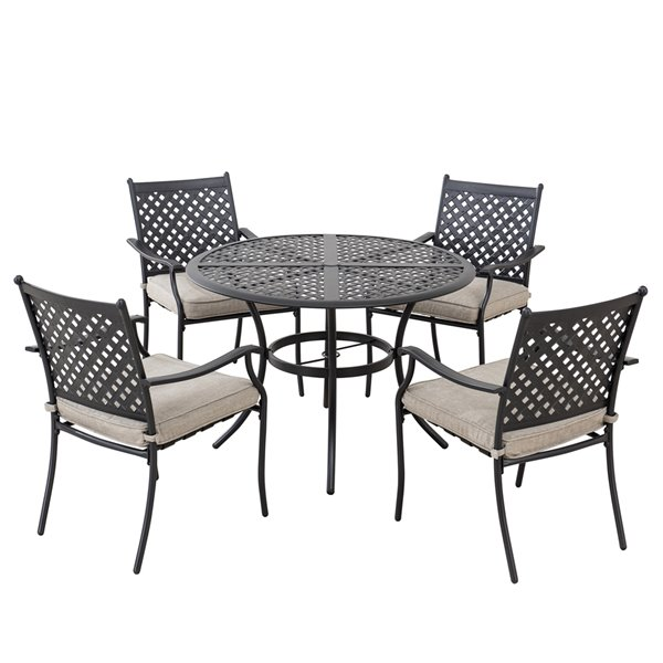 sunjoy morrison patio dining set with beige cushions black aluminum 5 piece