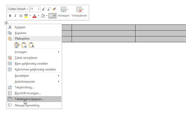 Op naar de eigenschappen van de tabel in Word