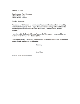teacher resignation letter release from contract resignation letter