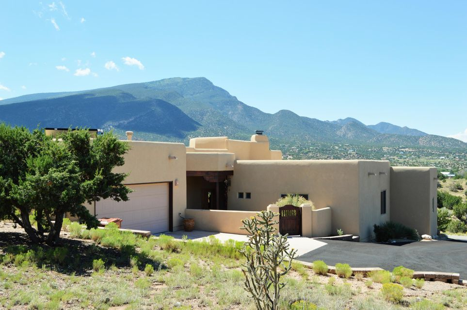 WOW will be your reaction when you see this quality home with fabulous Southwest amenities. Truly beautiful floor plan-one of the nicest out there. Gorgeous cook's kitchen w/ pecan cabinets, granite counters & Electrolux appliances. Amazing Sandia Mountains views from all the important rooms! Diamond plaster finish on many walls. 2 living areas-living room has spectacular custom fireplace. Passive solar, large south facing windows, green built. 2 wonderful rear outdoor covered patios facing incredible mountain views. Lovingly maintained, this home appears almost new.