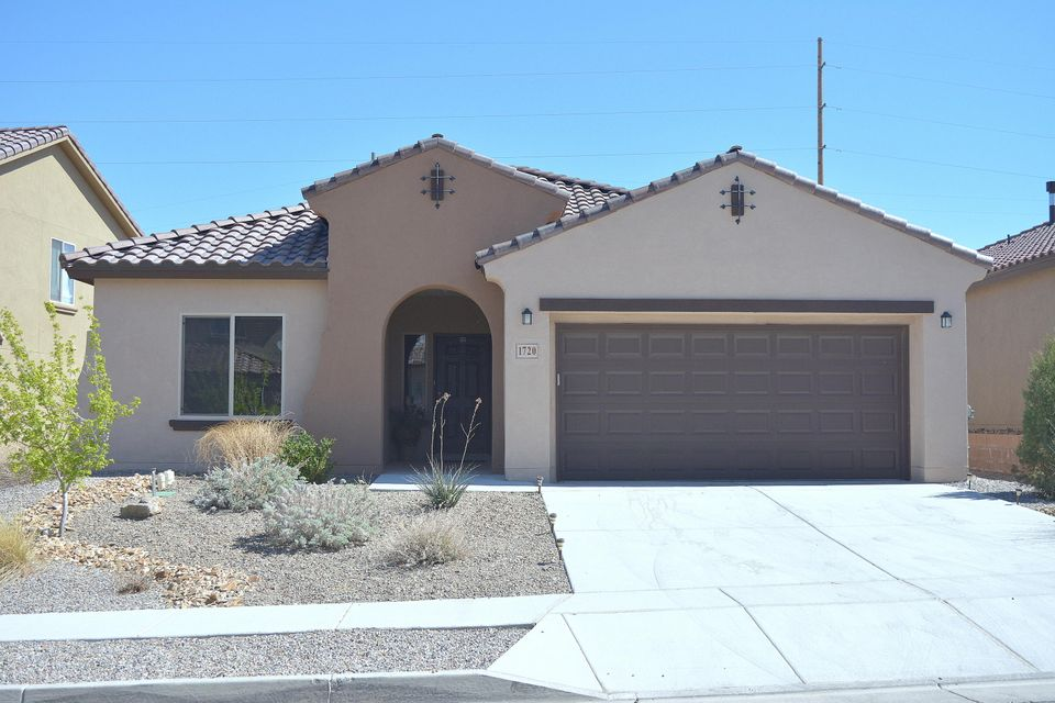 ***90 Minute OPEN HOUSE Sunday March 26th 1pm to 2:30 pm.*** Why compromise when you can have a Move-in Ready, 4 yr young, 4 BR, 2 BA single level home with refrigerated air. This Build Green NM Silver level home offers a HUGE list of upgrades yet still listed lower than a new build + no waiting! Kitchen Upgrades include: Granite counters, back splash, Executive Cabinet Package, Whirlpool Gold Series Appliances-5 burner gas range, frig, microwave & dishwasher. Tank-less water heater, upgraded tile & carpet. 8 X 10 covered patio for shaded outdoor living. Finished garage includes an opener. Alarm system,Blinds stay. Master suite is separate, spacious and includes a garden tub, separate shower, raised vanity and Huge walk-in closet. Don't compromise, call to see this home today.