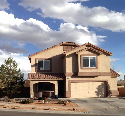 Priced under market at $121+/sqft.  Excellent condition, beautiful home in the sought out Vista Del Norte community.   Foyer entry, front study, formal dining, Large kitchen with island and nook opens to great room. Tile and laminate floors on main level, carpet upstairs. Large Loft with walk out balcony. Extra Large Master Suite with a Extra Large Walk-In Closet.  Corner Lot facing west to allow for shady afternoons and evenings in the fully landscaped backyard, enjoy the hot tub too.  Refrigerated Air, 2 units to cool both levels. Small Park across street, 3 other parks in neighborhood, one of which is a designated Balloon Landing site,( a spectating delight that time of year.)  Easy access to I-25 and Paseo Del Norte. Lease Option Available $1,750/month