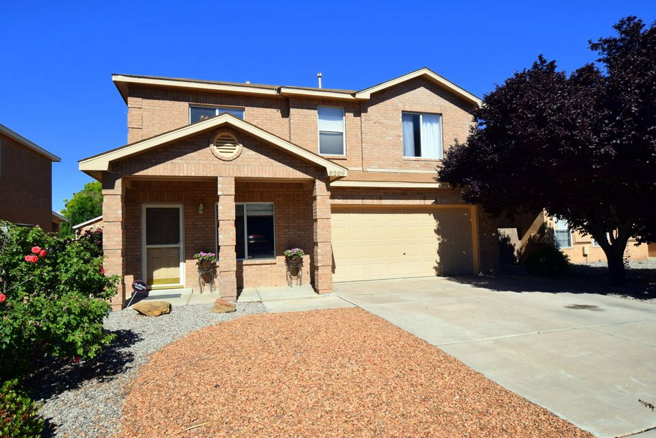 This beautiful home in Albuquerque's NE Heights won't last long. Come see it quickly! It is in the desirable La Cueva High school district near quick access to shopping, restaurants, parks and more! The home sparkles and has been well maintained by the original owner. It has fresh paint, new carpet, beautiful bamboo floors, water softening system and more! The home features 3 bedrooms, 3 baths, 2 living areas and a loft that allows access to the upper balcony over looking the quiet backyard. Don't miss this one!