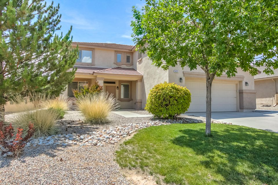 Location, condition and price with great convenience and access in this special customized home in Cabezon.  Quick walk to Cabezon Park and Community Center with pool, medical complex and more. DR Horton Mount Ranier with wall added to enclose loft providing a third living / recreation / media room with gaslog fireplace.  Enormous footage provides huge space and diversity in this exceptional floorplan with multiple living and dining areas plus additional den / study - lots of room for everyone and every use. Chef's kitchen provides large pantry storage, island / breakfast bar, nook, great counter space and opens to family room. Large master suite with siting area, huge walk-in closet and awesome mountain vistas. Get there today before this beauty is sold!