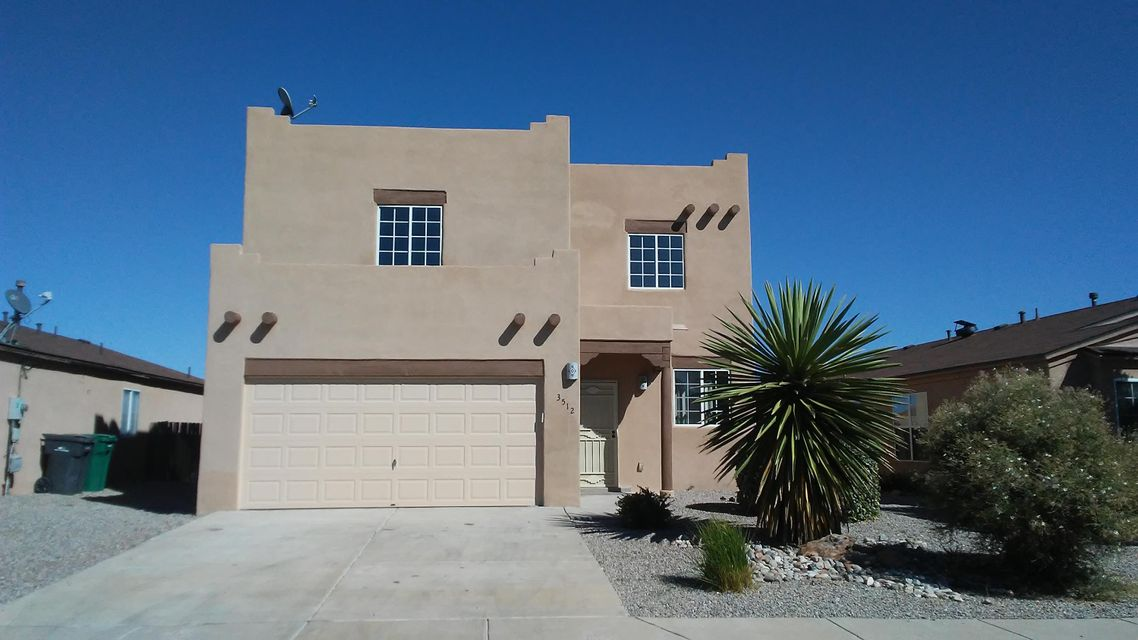 Huge Price Reduction! Freshly remodeled, very clean 2 story home in great Rio Rancho neighborhood.  Beautiful open layout.  First floor has living room that opens to huge family room with fireplace and kitchen with island, stainless steel appliances and pantry.  There is also a half bath and utility closet with washer/dryer hookups.  Second floor has huge  loft area, Master bedroom with walk-in closet, Master bath with jetted tub and separate shower.  Two other bedrooms and common full bath.  Almost everything in this house is new,  including Luxury Vinyl Plank flooring, carpet, light fixtures, vanities, security doors, paint and much more.  Walled back yard is partially landscaped and ready for your finishing touches. Possible Lease/Purchase.  Move right in!