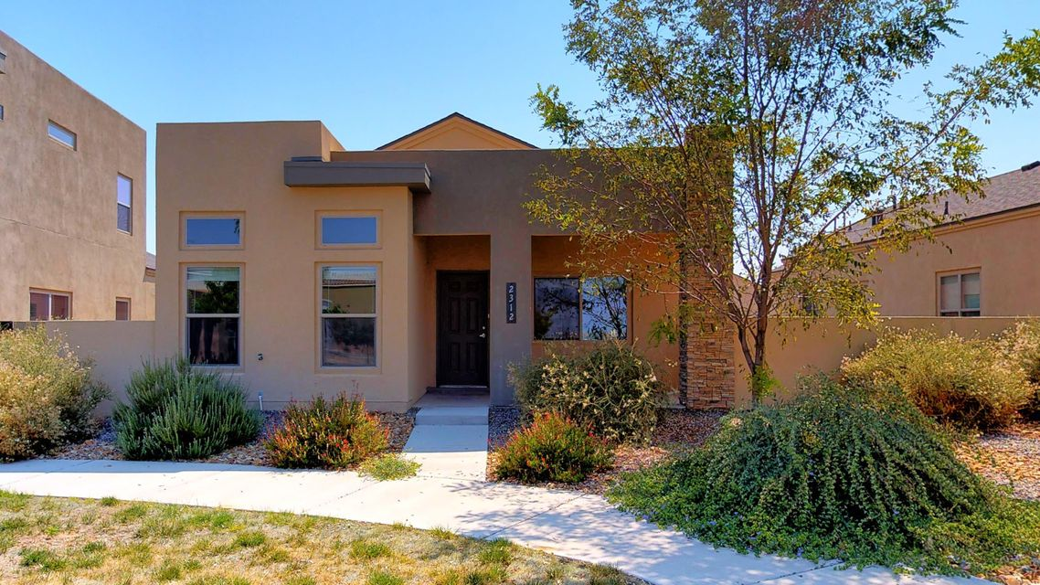 Contemporary upgraded 3 bedroom home in Mesa Del Sol, which is so convenient to UNM, hospitals, downtown and the airport. Must see the charm in this home, starting with stacked stone front. Situated across from a small neighborhood park you'll find this wonderful home ready to love. Fabulous kitchen with stainless appliances, Juperana granite slab counters, and upgraded cabinets with the tall uppers. Great floor plan with the master separate from the other two bedrooms. Home features Cathedral ceilings in the greatroom and 9' ceilings elsewhere, upgraded 16''x 16'' floor tile in most areas, and carpet in bedrooms. 2x6 construction, low-E dual pane windows, with Certified Silver Level Green Build NM for comfort and energy efficiency. Call to see it today!