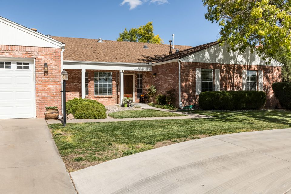 Classic single story brick home on a peaceful street in the heart of Rio Rancho has been updated, perfectly maintained and ready for a new owner to move in! Wonderful curb appeal on almost half an acre. The bright open efficient floor plan includes spacious great room, cozy family area with fireplace and large office/craft/exercise room.  Generously sized bedrooms with TWO master suites allowing for multigenerational living.  TWO refrigerated air units and both baseboard and forced air heating.  The private backyard and custom covered patio overlook tastefully landscaped backyard with room for garden, pool, RV parking, etc.   Must see to appreciate!