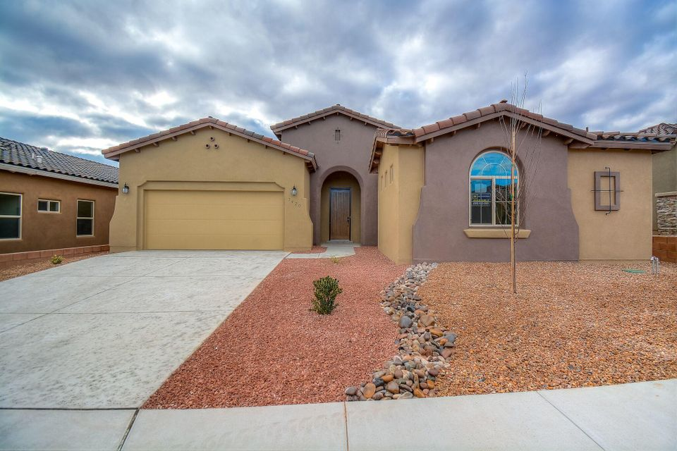 Mediterranean single story home by Hakes Brothers located in the Trails neighborhood! Home features 2,374 sf with 5 bedrooms and 4 full bathrooms! Beautiful tile throughout the main living areas. Spacious great room with custom trayed ceiling. Open kitchen with upgraded cabinetry, granite countertops, custom backsplash, gas cooktop, built-in wall oven/microwave, center island with seating space, pantry and dining area. Gorgeous master suite with private entry hall and spa like bath. Bath hosts a garden tub, walk-in shower with tile surround, dual sinks and a huge walk-in closet. 3 additional gust rooms with plenty of space. Outside enjoy the covered patio and private backyard. Come see what the Hakes Brothers has to offer!