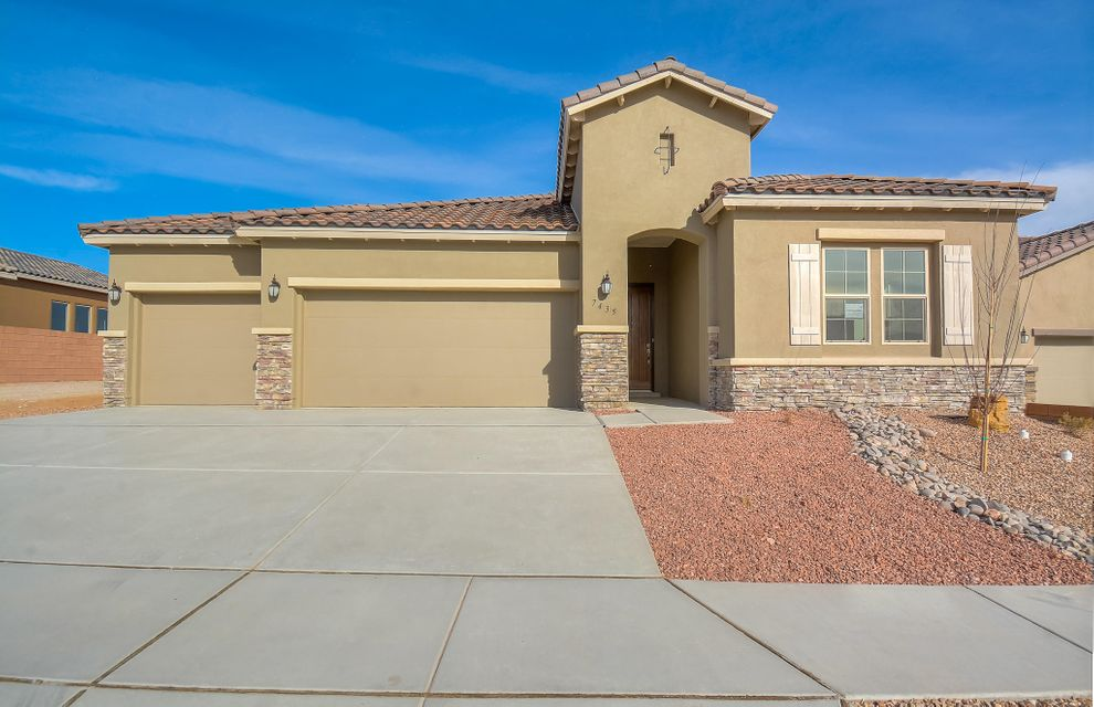 Stunning Tuscan single story home by Hakes Brothers located in the Trails neighborhood! Home features 2,119 sf with 3 bedrooms, 2.5 baths, an office or 4th bedroom and 3 car garage! Beautiful wood tile throughout the main living areas. Spacious great room. Open kitchen with upgraded ivory cabinetry, granite countertops, backsplash, gas cooktop, built-in wall oven/microwave, center island with seating space, pantry and dining area. Gorgeous master suite with spa like bath. Bath hosts a garden tub, walk-in shower with tile surround, dual sinks and a huge walk-in closet. Additional gust rooms with plenty of space. Outside enjoy the covered patio with built-in fireplace and private backyard. Come see what the Hakes Brothers has to offer!