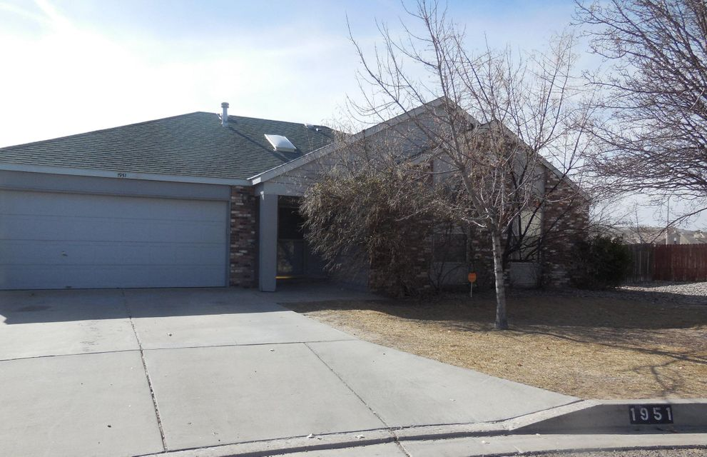 Welcome Home! This great 1 story ranch style home located on oversized cul-de-sac lot in the Northern Hills subdivision of Rio Rancho has tons of potential! Featuring 3 bedrooms, 2 full bathrooms, Open patio, spacious backyard and 2 car attached garage you won't want to pass this one up! Call today to schedule your private showing.