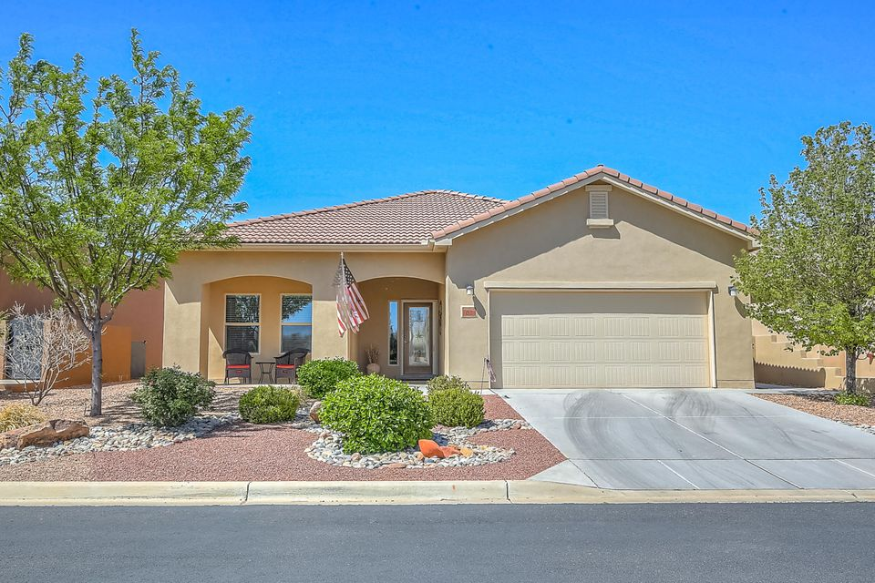 Terrific Home Located In The Del Webb 55+ Alegria Community!  This Popular Taos Floorplan, Features a Large Kitchen w/Gorgeous Cabinetry, Granite Countertops, Wall Oven/Microwave, Gas Cooktop, Pantry, Nook, Dining Room, Great Room, Office, 2BR's 2.5 BA's, REF AIR, Skylights, Enclosed Patio which has been ducted for heating and cooling!!  Nice Custom Landscaping with backyard privacy wall stuccoed to match home, Cobblestone Patio & Remote Controlled Retractable Sunshade! Bosque View from front porch! All Appliances Stay! Community is located along the Rio Grande Bosque where residents have access to walking trails. Clubhouse has Indoor/Outdoor Pool, Gym, Daily Activities, So much more! Close to Shopping, Golf, etc, 20 Minutes to ABQ and 40 Minutes to Santa Fe!