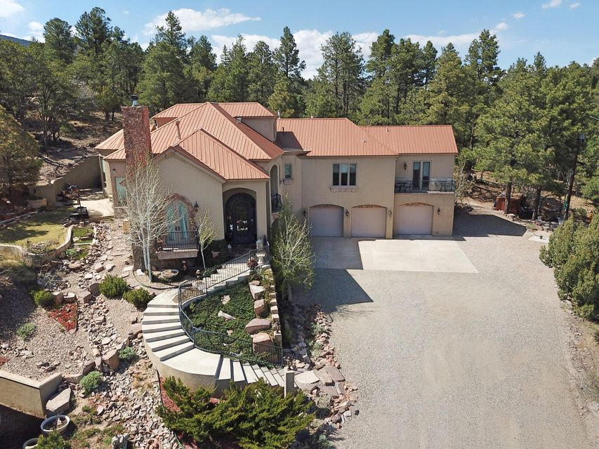 Retreat to this Luxury Estate nestled in the beautiful Sandia Mountains on just under 3 acres of beautiful, green hillside. You're sure to find bliss in the serenity and privacy this property has to offer, but you'll be endlessly impressed with the thoughtfulness and features throughout! This custom home was designed by award winning builder, Eric Spurlock. It is 3,730 square feet and includes 3 bedrooms, 4 bathrooms, and an oversized, heated 3 car garage. Highlighted features include: 4X8 construction, Cantera Stone accents throughout, Travertine tile and countertops, Viking appliances, Chef's kitchen, Butler's pantry, Pella windows, Alder wood doors, elevator, finished attic, radiant heating, refrigerated air, and a central vacuum system. SEE ADDITIONAL REMARKS