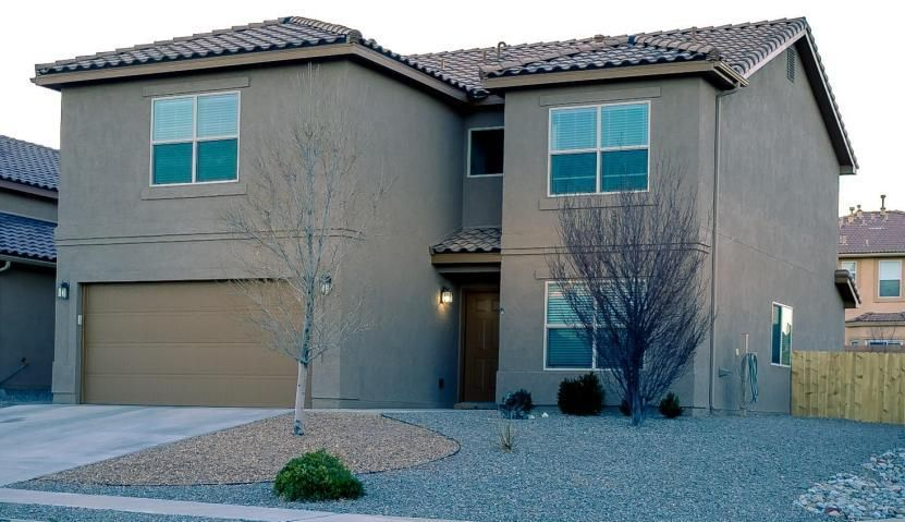 A popular DR Horton Floorplan , with two living areas, large open kitchen that overlooks the family room. Home has been recently painted, has all four bedrooms upstairs, 2 full bathrooms plus half bath. Upstairs loft and Master bedroom have great views of the Sandia Mountains, Oversized corner lot and fully landscaped. Enjoy your evenings on the covered patio.