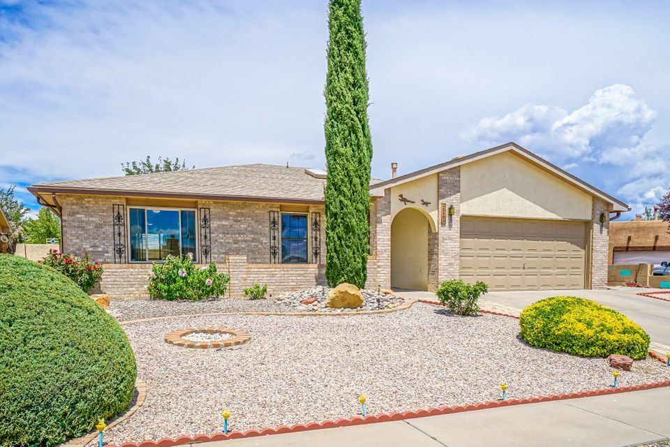 Great Family Home nestled in the desirable Shenandoah Community in Taylor Ranch! Bright/Spacious Floor-plan offers wonderful flow for the Kitchen/Dining/Living Areas. Bonus Sun-room off the Dining Rm boasts 3 Patio Doors creating additional Living Space for entertaining. Master Bedroom features an added Office/Exercise/Study as well! Newer features include 2016 Water Heater & Furnace, 2015 Window Blinds throughout, newer Kitchen Floor Tile & SSteel Appliances - Frig stays, newer Tile Surround & C-Top/Sink in the Hall Bath. Finished Garage, Refrig Air. Low maintenance, private Backyard with Sandia Mtn views! A Wonderful ''Move-in Ready'' Home in a Quiet & Peaceful Neighborhood! Close to Schools and Shopping!