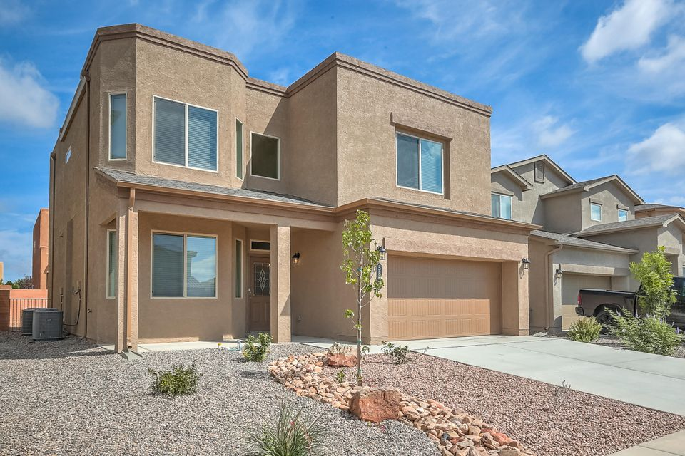 A Designer Home Like No-Other with 4 bedrooms and an Office! Nobody has ever lived in this Erickson by D.R. Horton. You are going to love this kitchen with, stainless steel appliances granite counter tops & a spacious island, featuring walk-in-pantry, a kitchen that opens to the dining and living room. The Inviting owner's suite and spa like master bath with over sized Terrazzo tiled master shower will pamper you, double vanities & upgraded closet wood shelving. A spacious family Loft is the perfect private family gather place. The Walled Backyard Includes a Covered Rear Patio for Fun, Sun & Shade, Certified Green Build NM Efficiency, w/Refrigerated Air, Tankless Water Heater, 2x6 walls, & blown-in insulation.  Paradise Hills Park, Pool, & Community Center are just north of Paradise Hills