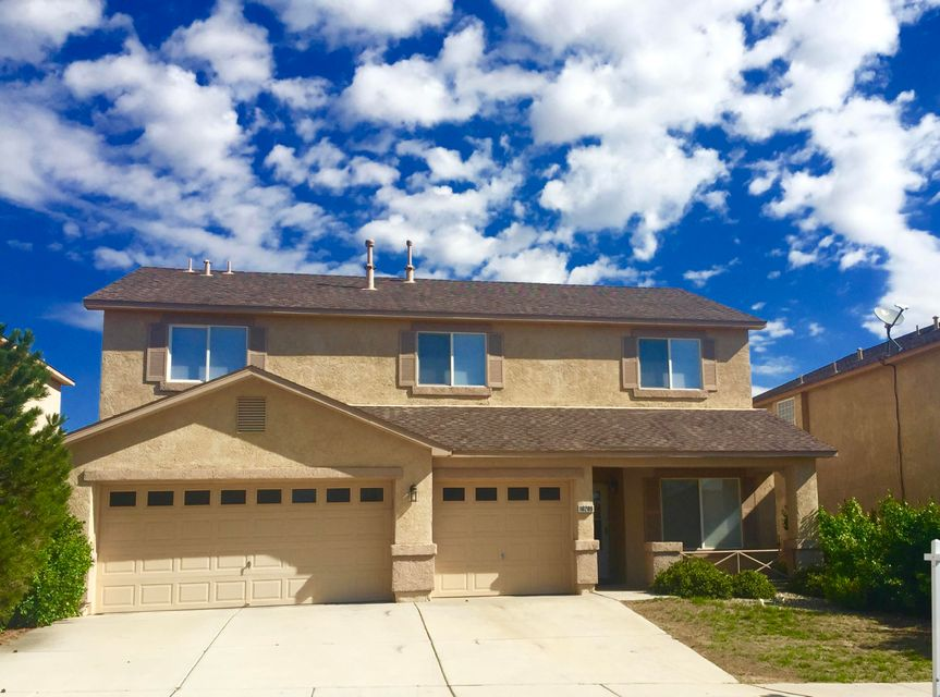 Situated on a Cul-De-Sac rd. is this Beautiful 4 Bedroom with a 3 Car garage. Views of the Sandia Mountains from the spacious Balcony off of the Master Bedroom.  2 living areas and a Loft as well (would be a great office, room for the kids or a 5th bedroom). 2 Heating & 2 Refrigerated Air units. Formal & Family dining rooms as well as a Kitchen Island and Open Floor plan.  Double sinks in the Master Bath with a separate shower and Jet Tub.  Large laundry room; Alarm system; Storage/Room under the stairs; Pantry.  Comes with Appliances: Refrigerator, Washer, Dryer stay with acceptable offer.  Mature Trees in the front and back yard.  The mail cluster box even has 2 apple trees across the street.  Great place to raise the kids.  You have gotta see this one.