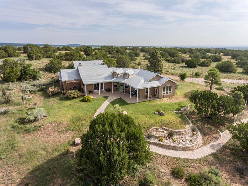 This New Mexico luxury country home on 40 acres has it all - expansive views of the Manzano Mountains, amazing sunsets and sunrises, close proximity to the Cibola National Forest and all within about an hour's drive to Albuquerque and Santa Fe. The home features 2736 sf of heated space and 4118 total sf under roof.  There are 3 bedrooms, 3 bathrooms and a truly gourmet kitchen that features a commercial grade gas cook range with double ovens and large vent hood. The oversize refrigerator will meet any families needs along with a food pantry and separate equipment pantry. The master suite is spacious and lovely, has a large walk-in closet and private patio. The bath features a claw foot tub, snail shower and double sinks. The outdoor living opportunities are abundant with two patios