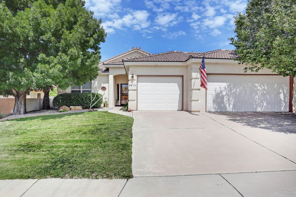 2 Masters, one with study plus another Bdrm. 3 Baths. Skylights. Brand new dishwasher.  New hot water heater.  Dog door.  Kitchen with pullout shelves.  Open to Great Room. Gorgeous mature landscaping w/fruit trees.  Covered patio is perfect party space.