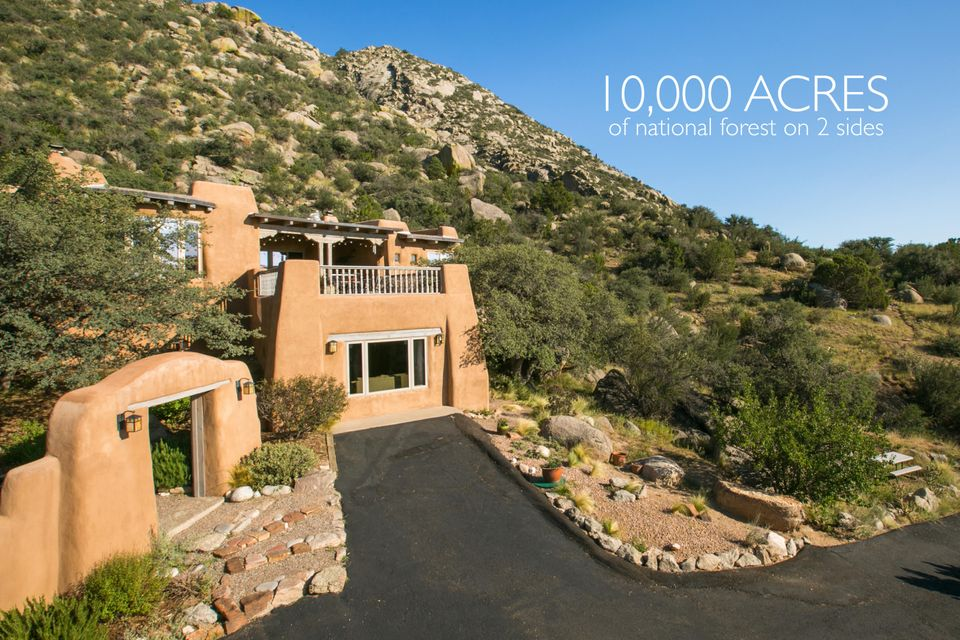 Spectacular Views! Exquisite Custom-Adobe 5 Bedroom 3 1/2 Bath on 1.35 acres nestled agains the Sandias & bordered on 2 sides by Natl Forest offering plentiful privacy. Built by Master Designer/Craftsman David Wilkinson w/ attention to every detail-an exclusive opportunity for discerning buyers. Gourmet kitchen w/Viking double range, Sub-Zero refrig, granite counters, island & a fireplace. Elegant alder cabinetry; hand-forged hardware; Talavera tile; custom wood doors; 5 custom crafted Kiva fireplaces; brick floors & radiant heat. French doors open onto decks with top-of-the-world city & mountain views. Plus, a charming workshop & spacious office/family room with private entrance. The beauty of nature & access to Sandia trails just outside your door. NEW ROOF COMING SOON!