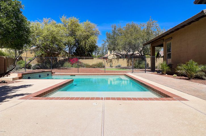 Swimming pool in side yard