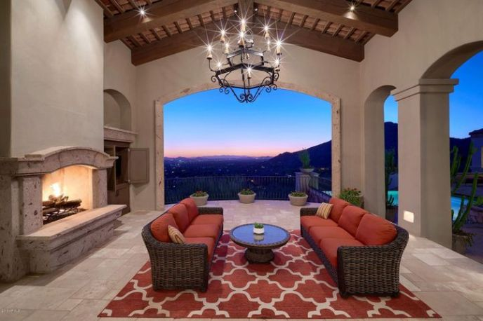 Outdoor Living Space With Gas Fireplace