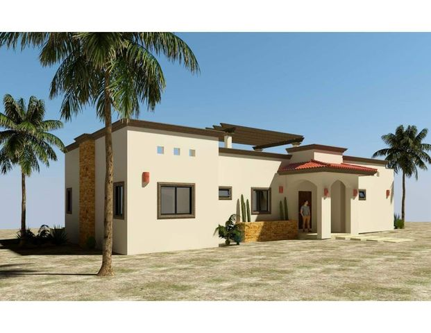 Casa Coromuel is one of 6 models to be built in the new, master-planned community of Villas del Centenario, Casa Coromuel is a 3BR/2BA home with 155m2/1,668ft2 of interior living area and a large 60m2/650ft2 covered patio with tiled roof. The stone front entry welcomes visitors into an open living/kitchen/dining area featuring 10' ceilings and sliding glass doors that open onto the terrace. Custom-built hardwood cabinetry, oversized tile, granite countertops and stainless appliances are all included. The master suite has dual vanities in the bath, marble tiled shower and walk-in closets, with doors that open onto the patio. The home also includes 2 guest BRs, a guest bath, a walk-in laundry room, and A/C units and ceiling fans in every room. Other upgrades include a pool, garage & casita. Villas del Centenario is a private, gated community of homes located in the hills of El Centenario overlooking the Sea of Cortez with stunning ocean views. Construction is scheduled to begin in summer 2021. Now taking lot reservations with 50% deposit on lot premiums ranging from $39,900 - $79,900.  The price listed is the base price of the home plus a $39,900 lot premium. Other lots may increase the base price of the home, and some lots may require additional cost for retaining walls. The price does not include other options or upgrades.  The first homes to be built are expected to break ground in summer 2021 (Phase I and II only), with completion averaging 9 months later. Please consult the listing agency for the full lot price list.