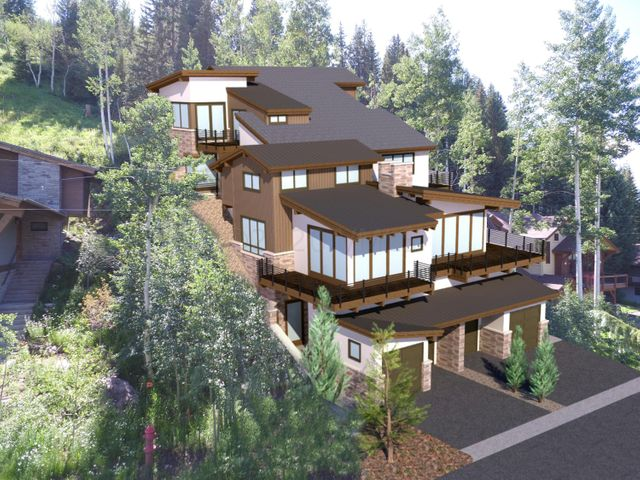 Stunning new Duplex unit currently under construction.  Estimated completion is summer/fall 2021.  Best of East Vail mountain living backing to National Forest. Spectacular views, expansive windows, many private decks and a private elevator.  This unit features large vaulted spaces, well appointed kitchen, dining and great room. Four completely self-contained bedroom suites, including a private ''crowsnest'' master bedroom with ground floor elevator access offering dramatic penthouse style privacy and views from 50' above the  adjacent road. Plans available upon request