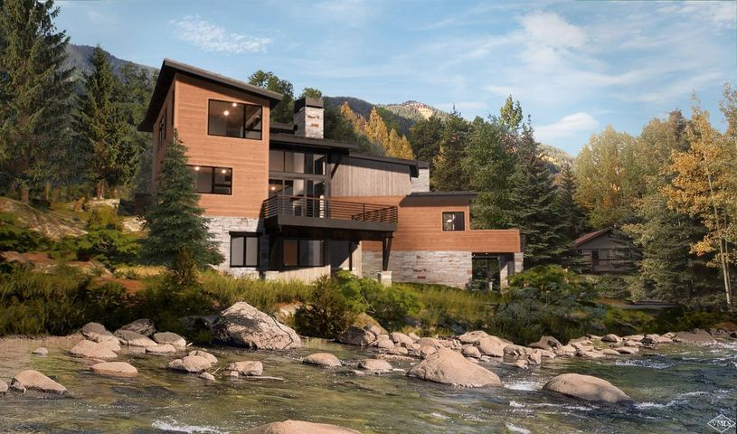 Creekside new construction in East Vail! Enjoy the sounds of Gore Creek while taking in the views of Bald Mountain from this mountain modern half-duplex currently under construction.