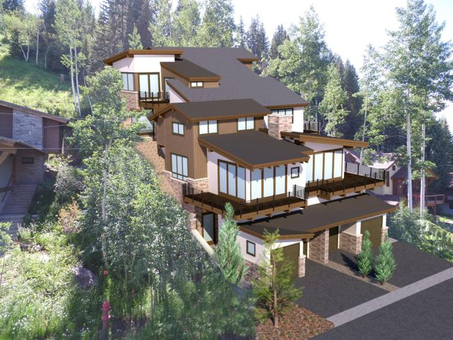 Stunning new Duplex unit currently under construction.  Estimated completion is summer 2021.  Best of East Vail mountain living backing to National Forest. Spectacular views, expansive windows, many private decks and a private elevator.  This unit features large vaulted spaces, well appointed kitchen, dining and great room. Four completely self-contained bedroom suites, including a private ''crowsnest'' master bedroom with ground floor elevator access offering dramatic penthouse style privacy and views from 50' above the  adjacent road. Plans available upon request