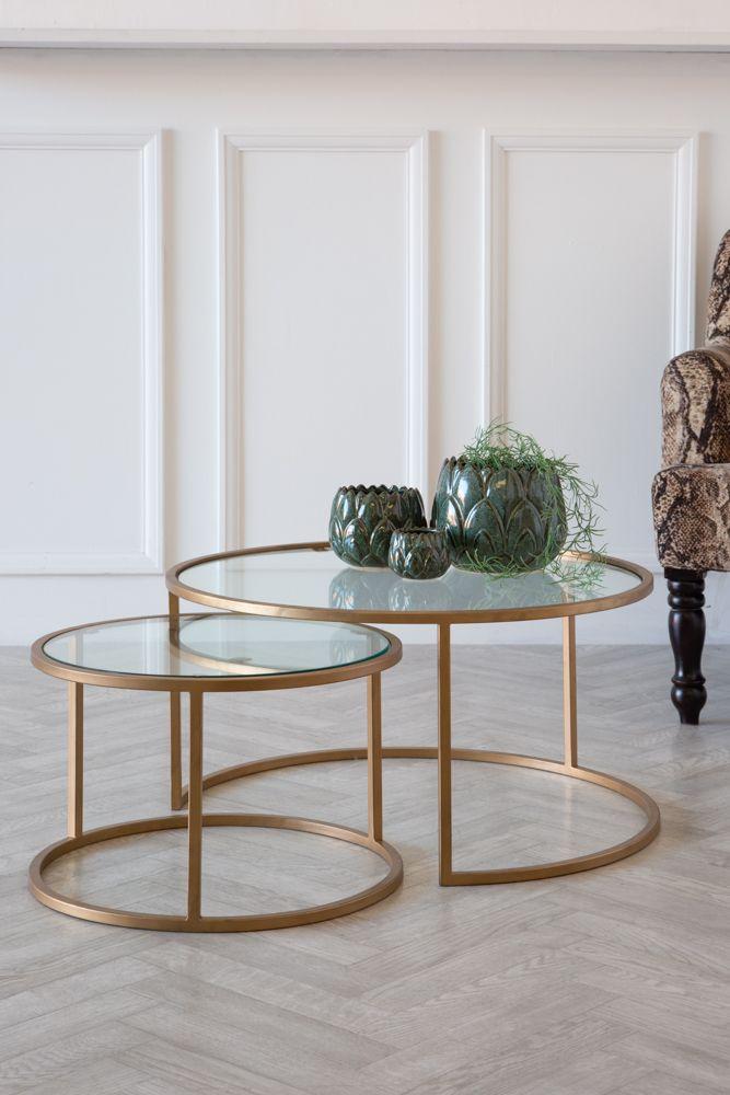 set of 2 circular glass brass coffee tables