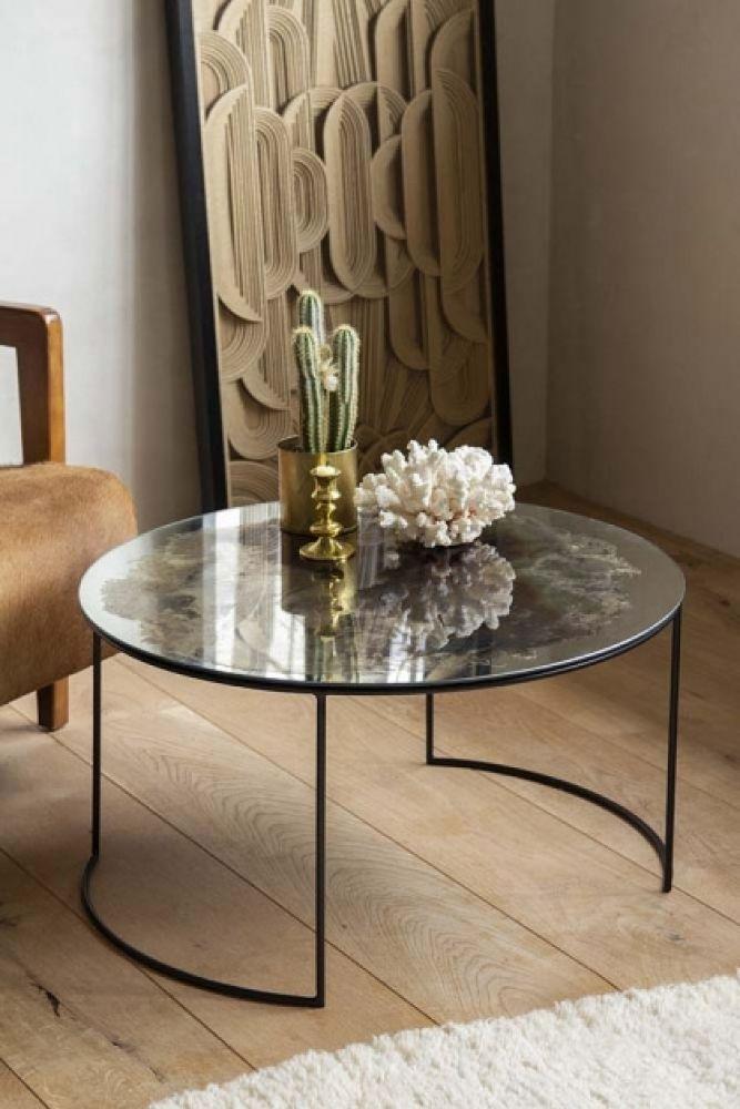 vintaged glass mirror iron round coffee table