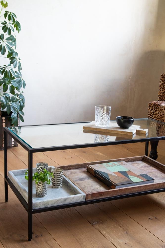 multi tray marble mango wood coffee table