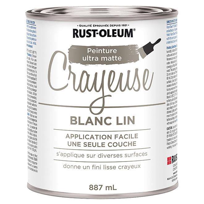 Peinture Crayeuse Rust Oleum Latex 887 Ml Ultra Mate Blanc Lin 286941 Rona