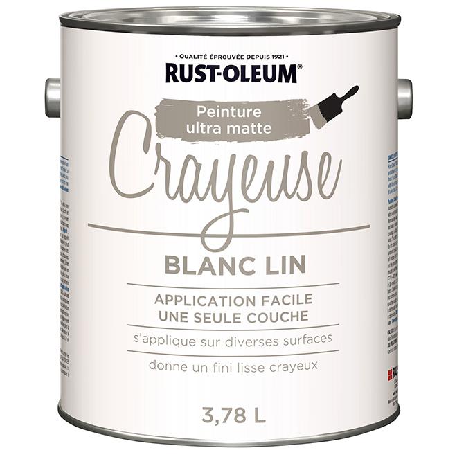 Peinture Crayeuse Rust Oleum 3 78 L Ultra Mate Blanc Lin 322439 Rona