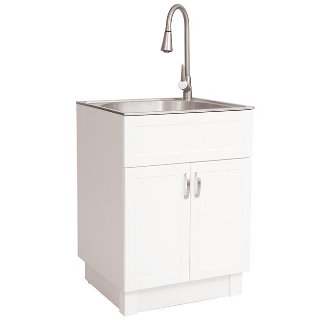 laundry sink 2 doors pvc 26 white chrome
