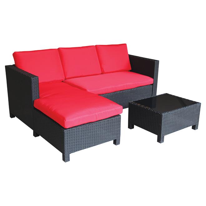 ensemble sofa modulaire pour patio rouge noir 3 morceaux