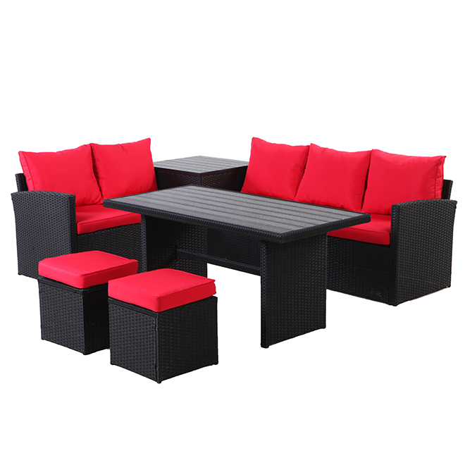 uberhaus 7 seat patio conversation set red and black
