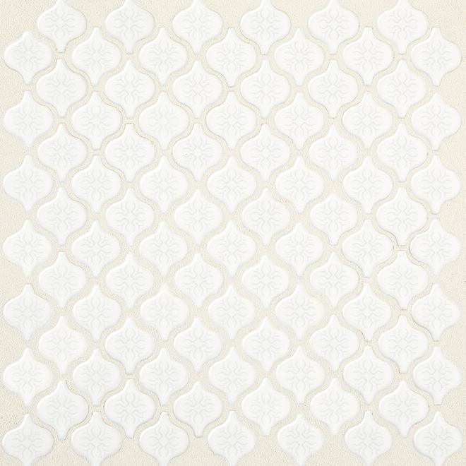 mosaic arabesque porcelain tile 12 x 12 white