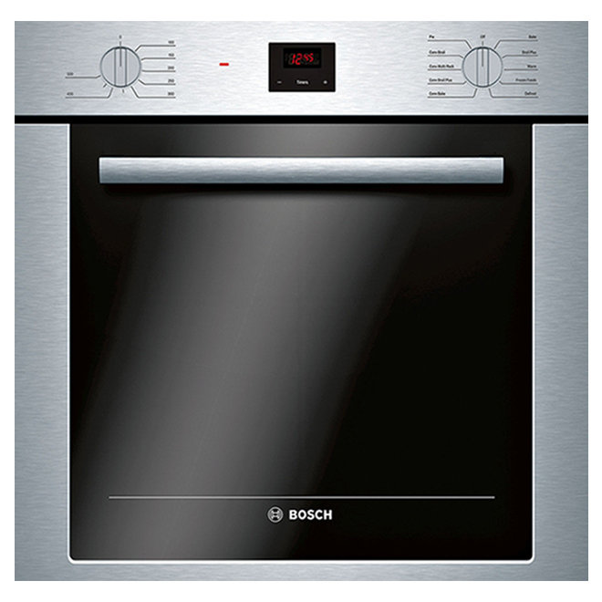 bosch 500 series single electric wall oven 24 in 2 8 cu ft stainless steel