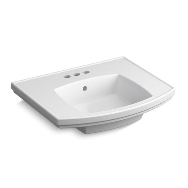 elliston pedestal sink basin porcelain rectangle white