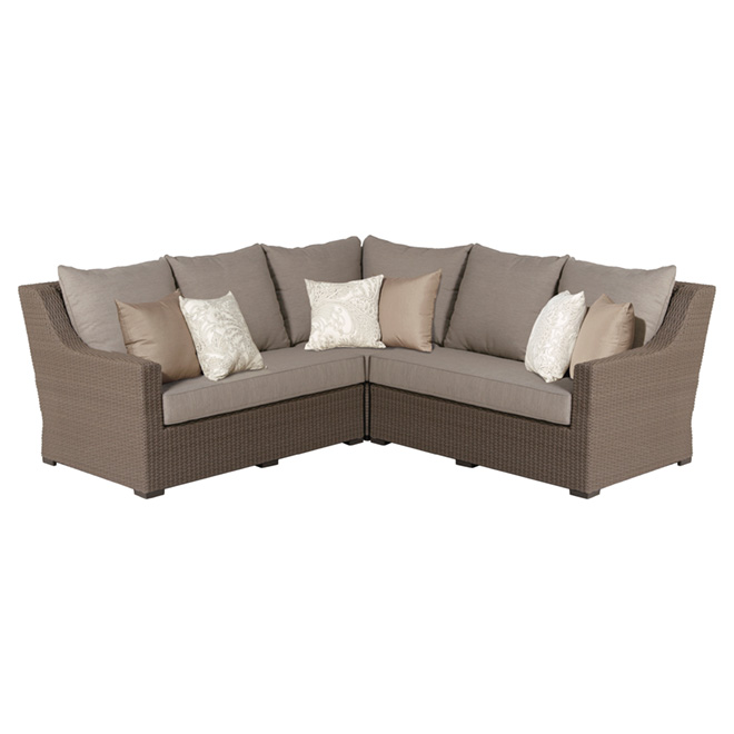 allen roth hawkesbury 5 seat sectional patio sofa taupe and brown