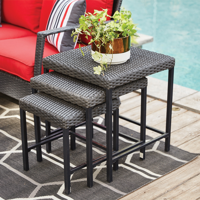 allen roth addison square nesting patio side table set steel wicker brown 3 pieces