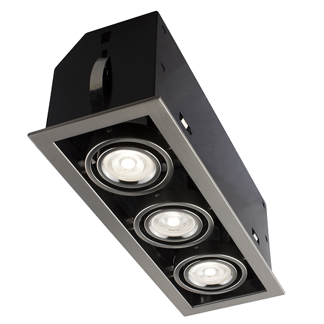 cube 3 light recessed light 7w led brushed steel