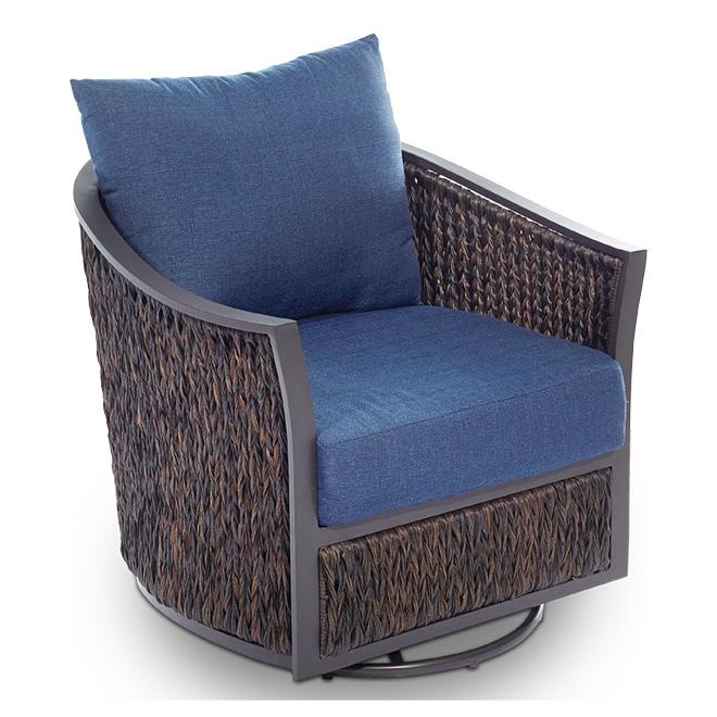 ellisview wicker patio swivel glider chair set of 2 navy