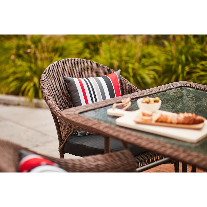 spruce hills wicker patio chair stackable brown
